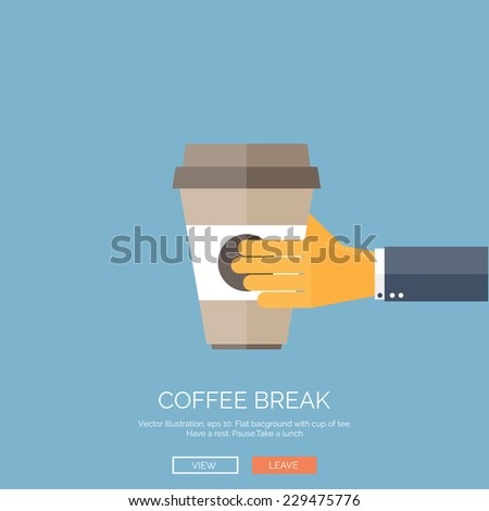 Vector illustration. Flat background with hand and coffee paper cup.  - stock vector