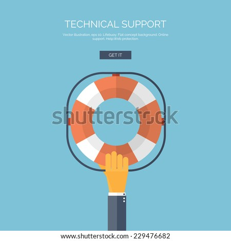 Vector illustration. Flat background with hand and lifebuoy.  Technical support concept. Online help. - stock vector