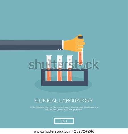 Vector illustration. Flat background with hand and medical flask. Medical research. - stock vector