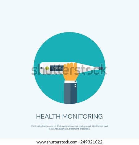 Vector illustration. Flat background with hand and  medical thermometer. First aid and diagnostic. - stock vector