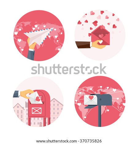 Vector illustration. Flat background with hand and paper plane, letter, envelope. Love, hearts. Valentines day. Be my valentine. 14 february.  - stock vector
