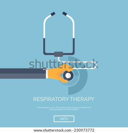Vector illustration. Flat background with hand and stethoscope. First aid, diagnostic. Respiratory infection. - stock vector