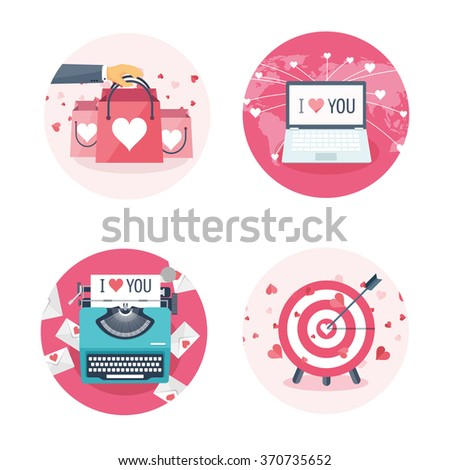 Vector illustration. Flat background with shopping bags, target, laptop, typewriter . Love, hearts. Valentines day. Be my valentine. 14 february.  - stock vector