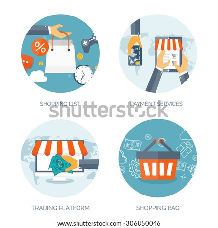Vector illustration. Flat backgrounds set. Internet shopping. Web store. Global  trading. Web business. E-commerce and money making. Internet banking. - stock vector