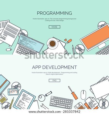 Vector illustration. Flat backgrounds set. Programming and coding online. Web courses. Internet and web design. App development. - stock vector