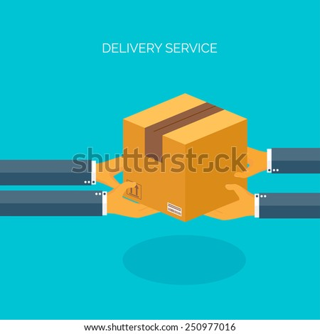 Vector illustration. Flat carton box. Transport and packaging. Post service and online delivery. - stock vector