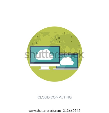 Vector illustration. Flat cloud computing background. Data storage network technology. Multimedia content and web sites hosting. Memory and information transfer. - stock vector