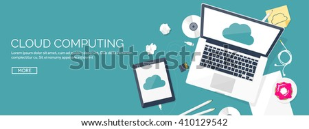 Vector illustration. Flat cloud computing background. Data storage network technology. Multimedia content, web sites hosting. Memory, information transfer. - stock vector