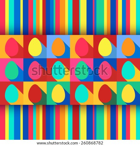 Vector illustration: flat Easter holiday seamless background with pop art eggs and stripes in bright colors - stock vector