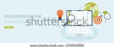 Vector illustration. Flat header. Distance education and learning. Online courses and web school. Knowledge and information. Study process. E-learning. - stock vector