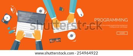 Vector illustration. Flat header. Programming and coding online. Web courses. Internet and web design. App development. - stock vector