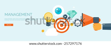 Vector illustration. Flat header. Target and bulb. Management and achievements. Smart solutions and business aims. Generating ideas. Business planning and strategy - stock vector