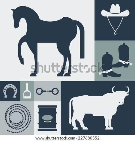 Vector illustration flat icons. Reining. - stock vector