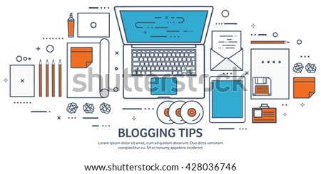 Vector illustration. Flat laptop. Tell your story. Author. Blogging. Message. Lined, outline. - stock vector