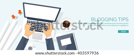 Vector illustration.  Flat laptop with hands. Tell your story. Author. Blogging. Message. - stock vector