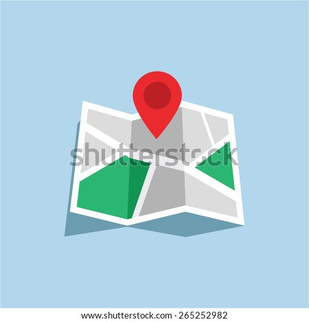 Vector illustration flat map with navigator, map indicator - stock vector