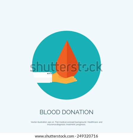 Vector illustration. Flat medical background. Health care and first aid, medical research and blood donation. - stock vector