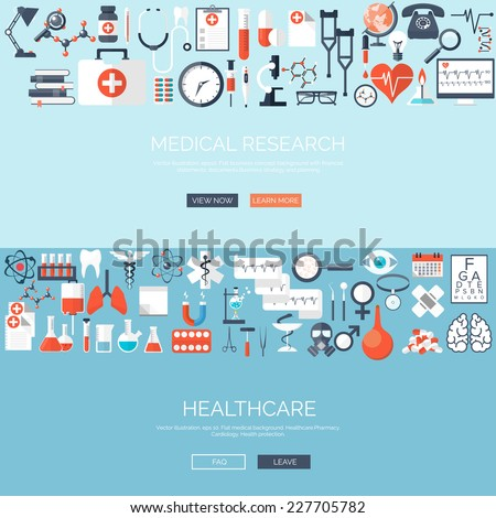 Vector illustration. Flat medical background. Medicine. Healthcare and medical research. First aid help. - stock vector
