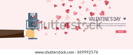 Vector illustration. Flat musical background with microphone. Love, hearts. Valentines day. Be my valentine. 14 february.