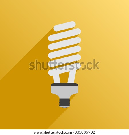 Vector illustration. Flat style. Icon. Fluorescent energy saving bulb lamp for plants