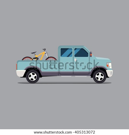 Vector illustration flat. the truck carrying the bike
