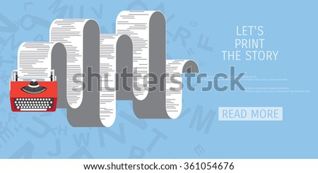 Vector illustration. Flat typewriter. Tell your story. - stock vector
