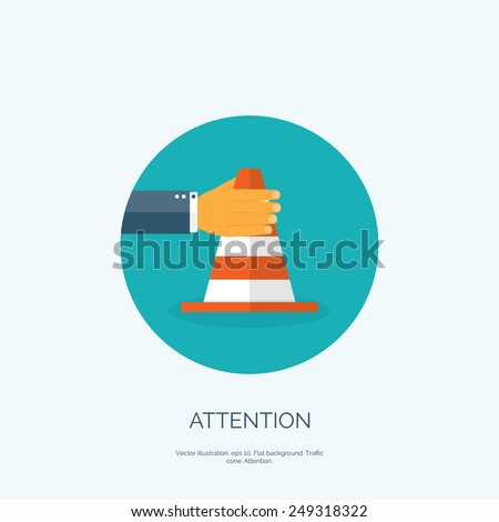 Vector illustration, flat vector attention cone with hand. - stock vector