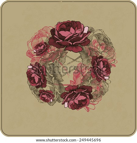 Vector illustration. Floral background with roses, hand-drawing. - stock vector