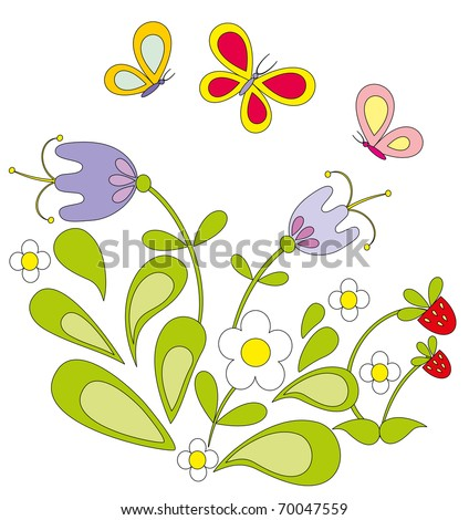 Vector illustration. Flower and butterfly. - stock vector