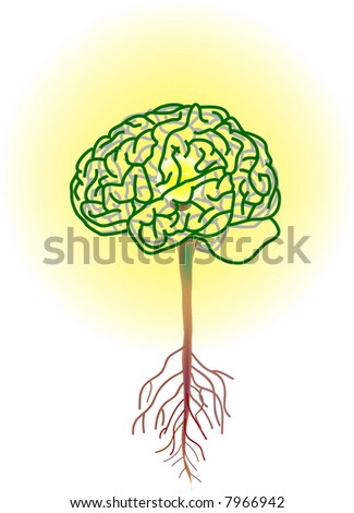 vector illustration for a brain tree, inside is a lightning bulbs, metaphors - stock vector
