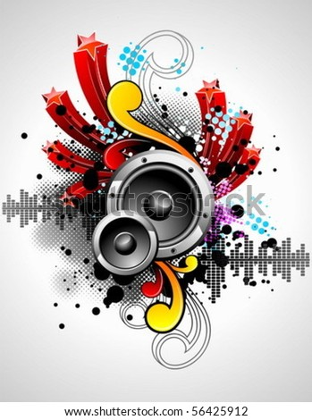 vector illustration for a musical theme with speakers and abstract design elements - stock vector