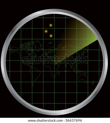 Vector illustration for a radar on a black background - stock vector
