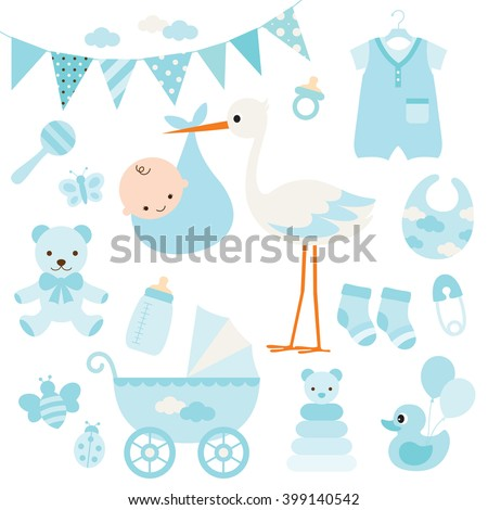 Vector illustration for baby boy shower and baby items. - stock vector