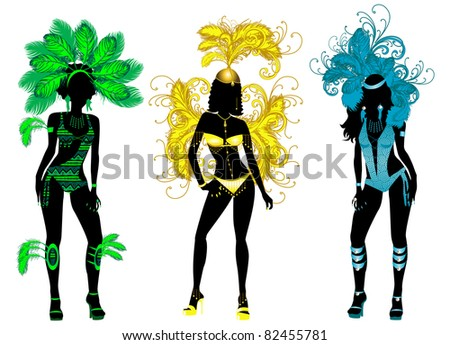 Vector Illustration for Carnival 3 Silhouettes with different costumes. - stock vector