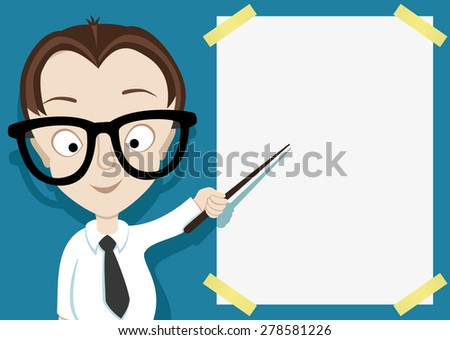 Vector illustration for message. A person with a pointer. - stock vector