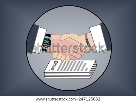 Vector illustration for mobile electronic payments to transfer money for business transactions after contract negotiations visualized by two business partners shaking hands. - stock vector