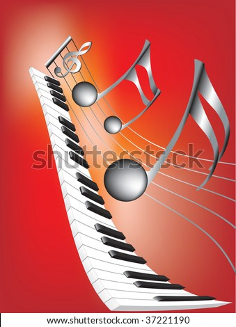 Vector illustration for Musical notes and keyboard on  abstract red background - stock vector