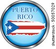 Vector Illustration for Puerto Rico, Round Button. - stock photo