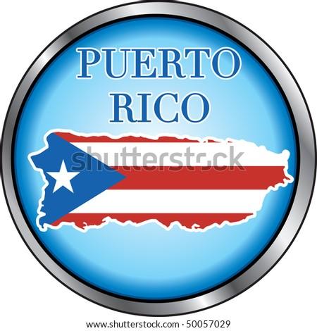 Vector Illustration for Puerto Rico, Round Button. - stock vector