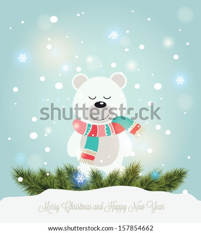 Vector illustration for retro christmas card. Snow landscape background with bear - stock vector