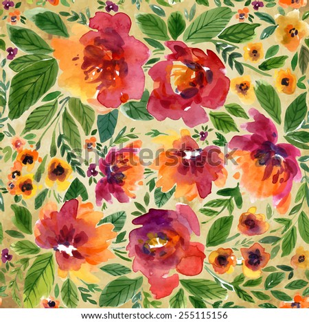 Vector illustration for textile and different occasions. Cute summer and spring background. Floral pattern with watercolor flowers on the vintage background. Isolated  peonies - stock vector