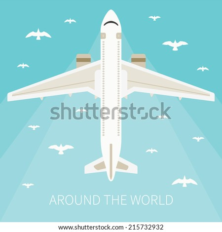 Vector illustration for tourism industry, travelling on airplane, planning summer vacations. - stock vector
