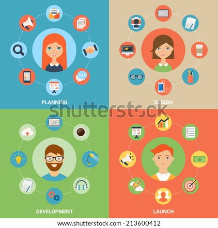 Vector illustration for web: planning, design, development and launch processes with  characters. Modern flat style - stock vector