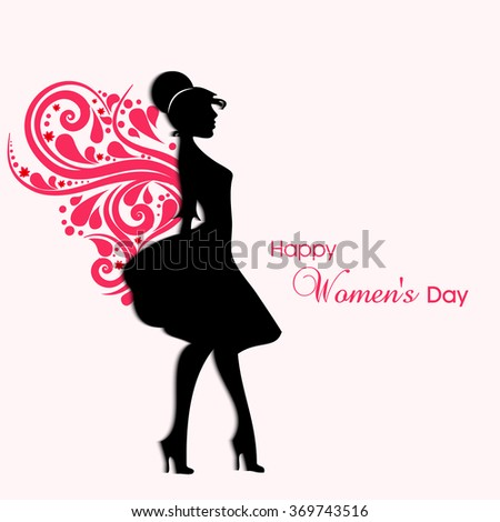 Vector illustration for women day with beautiful face silhouettes of woman.  - stock vector