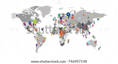 Vector illustration world map locations activities stock photo vector illustration for world map with locations and activities spots pins and cities signs for worldwide gumiabroncs Image collections