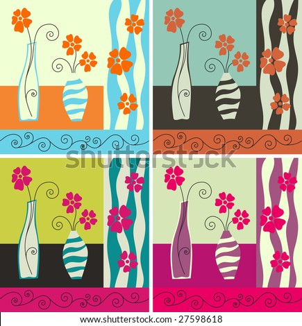 Vector illustration. Four color versions of the still-life. - stock vector