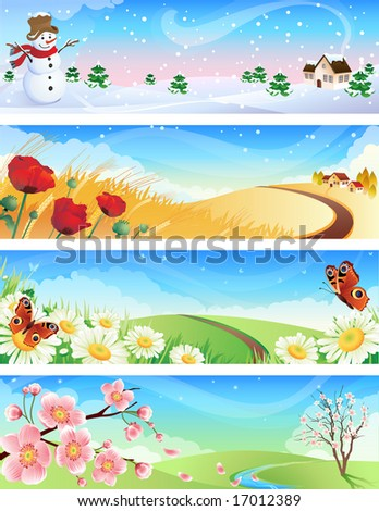 Vector illustration - four seasons landscapes - stock vector