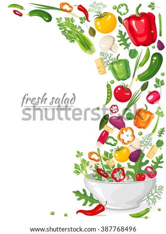 Vector illustration. Frame of fresh, ripe, delicious vegetables in vegan salad isolated on white background. Healthy organic food in a plate.  Set of ingredients for cooking in flat style - stock vector