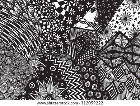 Vector illustration, freehand ink drawing, abstract universe, card concept. - stock vector