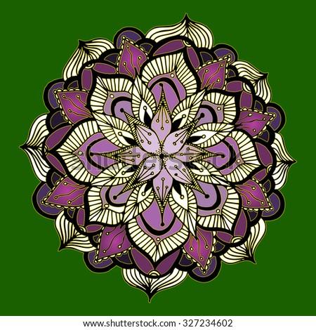 Vector illustration, freehand mandala kaleidoscope on green background, card concept. - stock vector